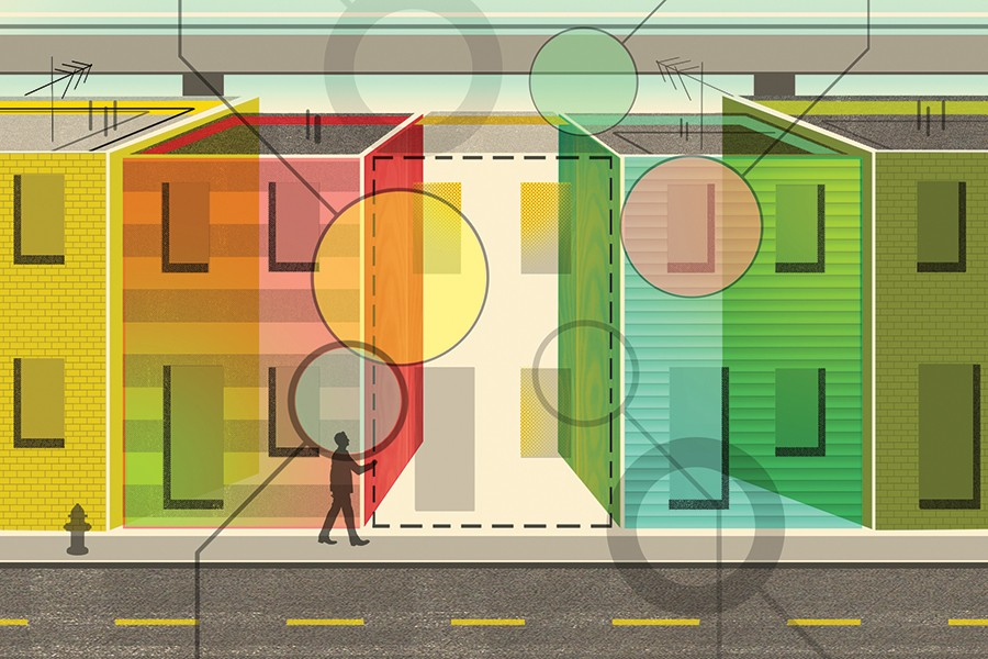 Illustration depicts Baltimore rowhomes overlaid with circles and connecting lines suggesting treemaps