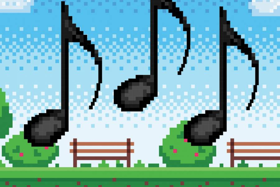 Pixelated music notes on a video game background