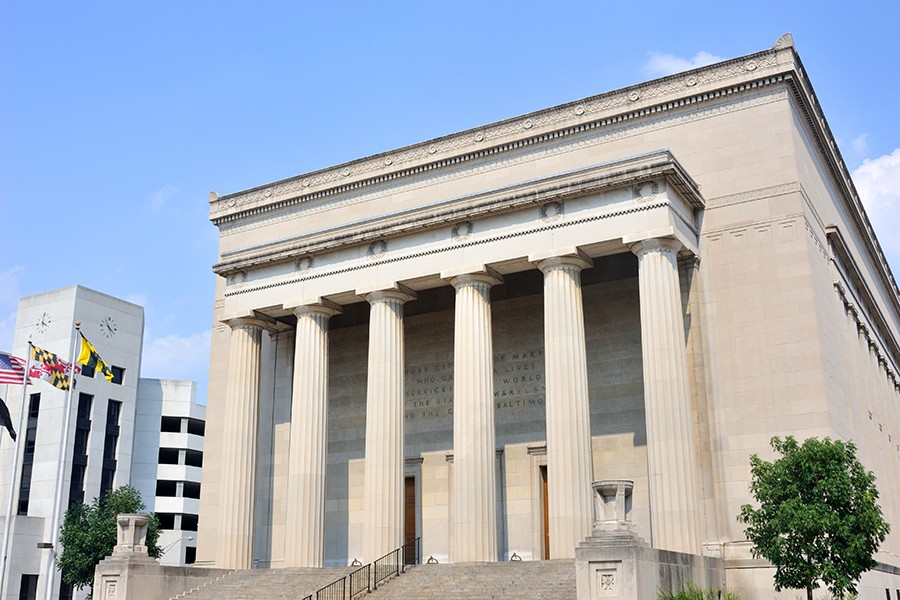 Six-column facade of Baltimore's War Memorial