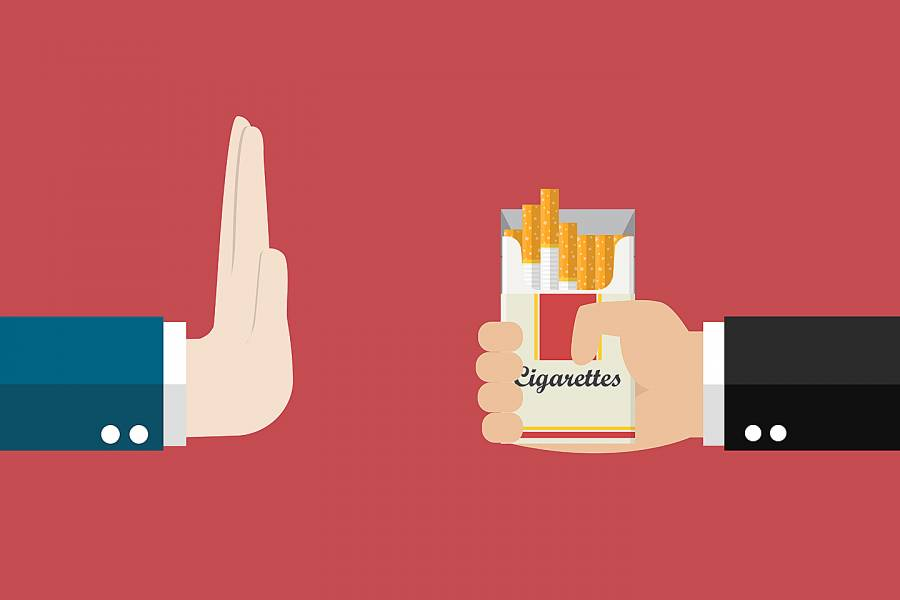 Illustration of hand indicating stop to cigarette offer
