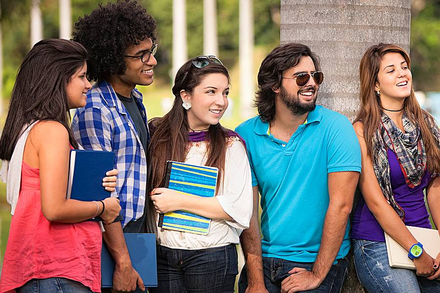 Multi-ethnic group of students