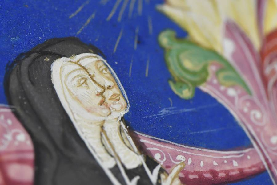 Detail of hand-illuminated drawing of nuns