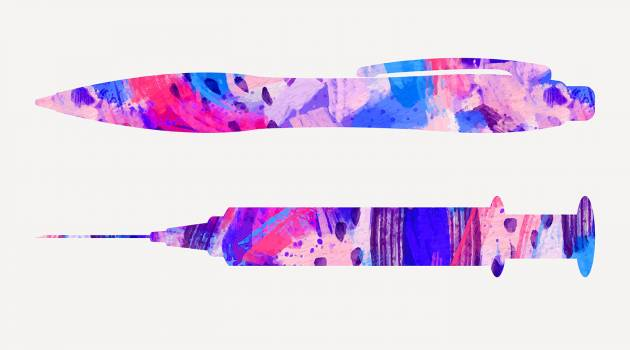 Illustration of a pen and a syringe