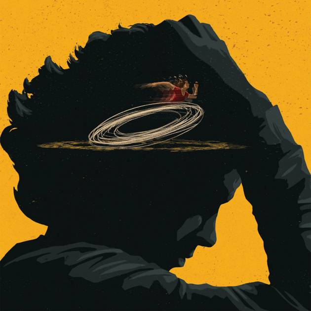 Illustration of a person with swirling thoughts of anxiety