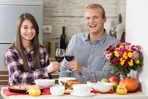 Happy young couple having holiday dinner alone in their kitchen