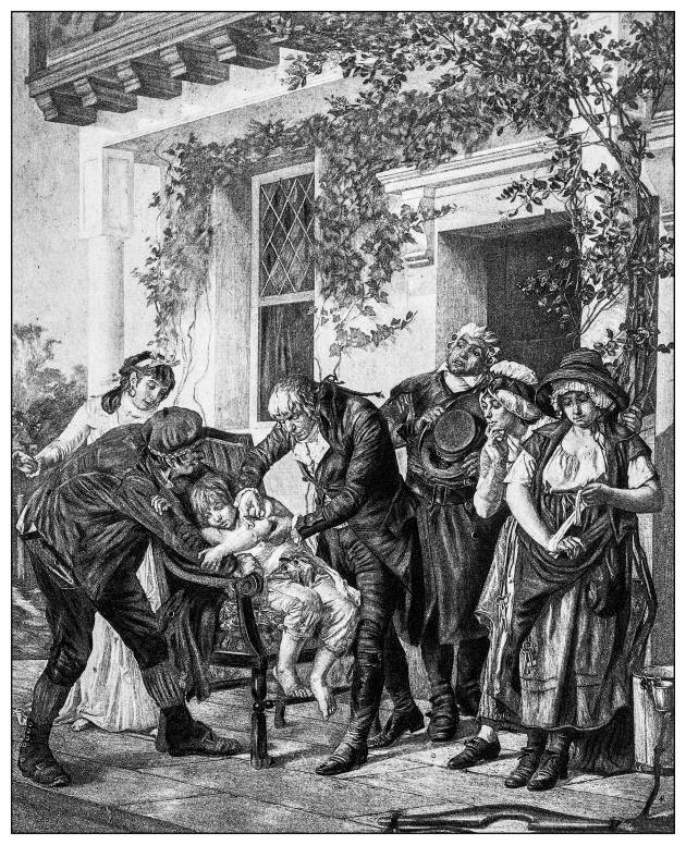 A historic etching of a child receiving an immunization