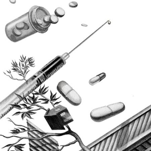 syringes and pills