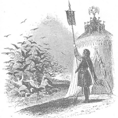 Black and white etching depicts a squire outside of a tent holding a banner as a flock of crows takes flight