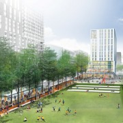 The 88-acre, piano-shaped parcel north of the Johns Hopkins medical campus has, at its heart, a three-block linear green space called Eager Park. The six-acre park will be anchored at the south end by a hotel and will feature seasonally programmed activities, including a farmers market and live music; a fitness-oriented exercise circuit; a field for yoga classes and recreational play; and a performance space.