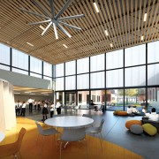 Architectural rendering of the commons area of the K-8 cluster spaces in the $42 million Henderson-Hopkins School, which will open in fall 2013.